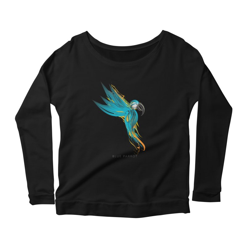 BLUE PARROT Women's Scoop Neck Longsleeve T-Shirt by mu's Artist Shop