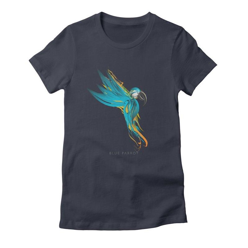 BLUE PARROT Women's Fitted T-Shirt by mu's Artist Shop