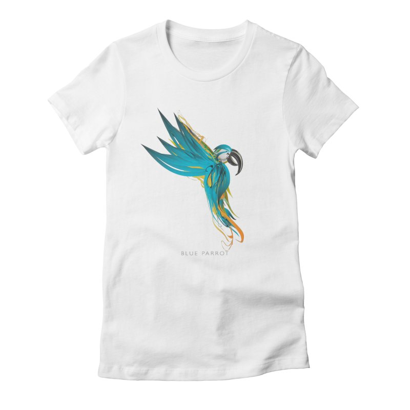BLUE PARROT Women's Fitted T-Shirt by mu's Artist Shop