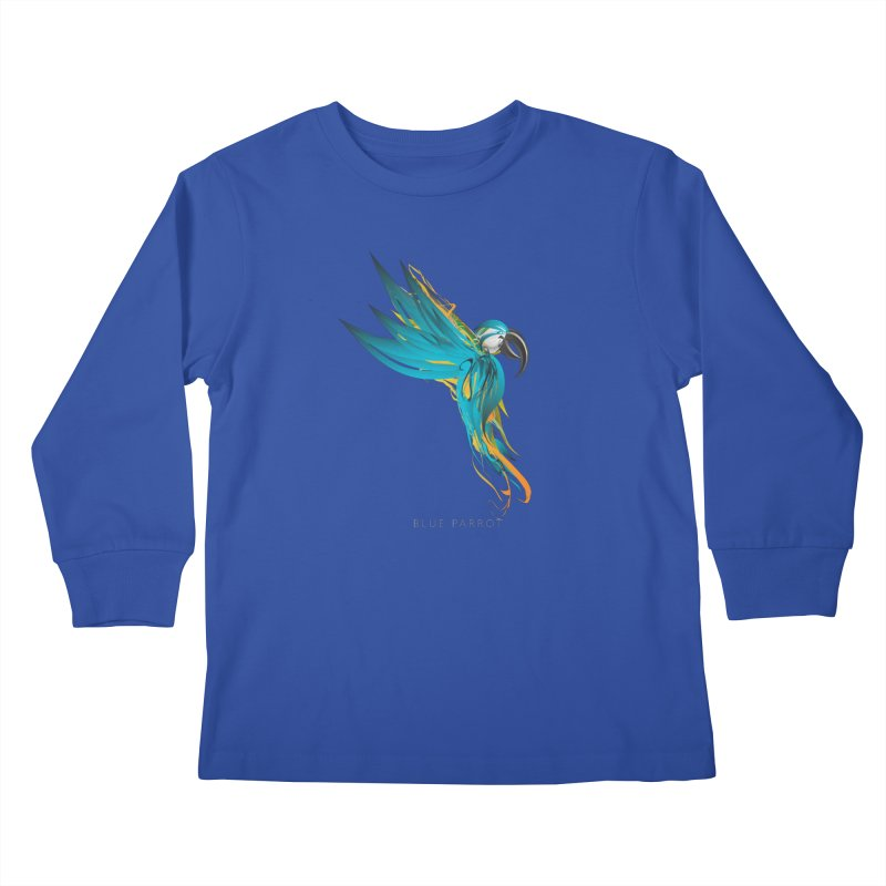 BLUE PARROT Kids Longsleeve T-Shirt by mu's Artist Shop