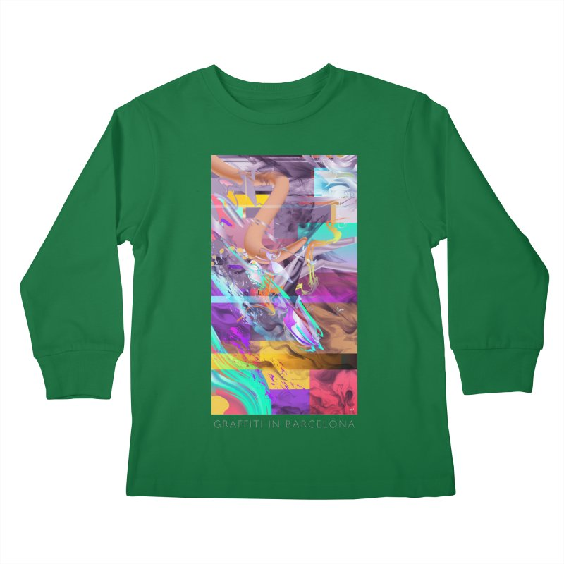 GRAFFITI IN BARCELONA Kids Longsleeve T-Shirt by mu's Artist Shop