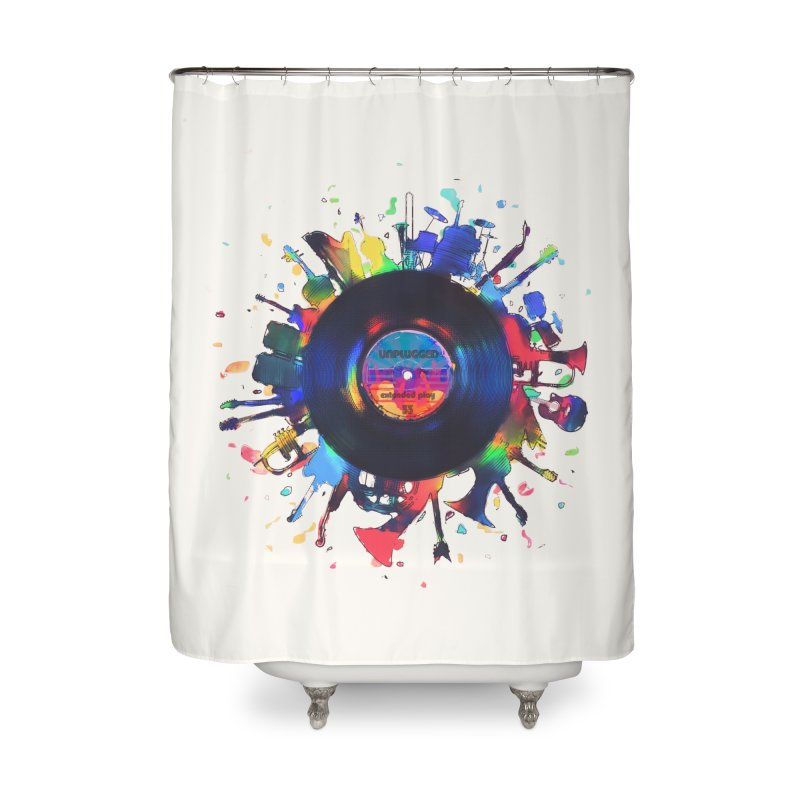 unplugged Home Shower Curtain by muag's Artist Shop