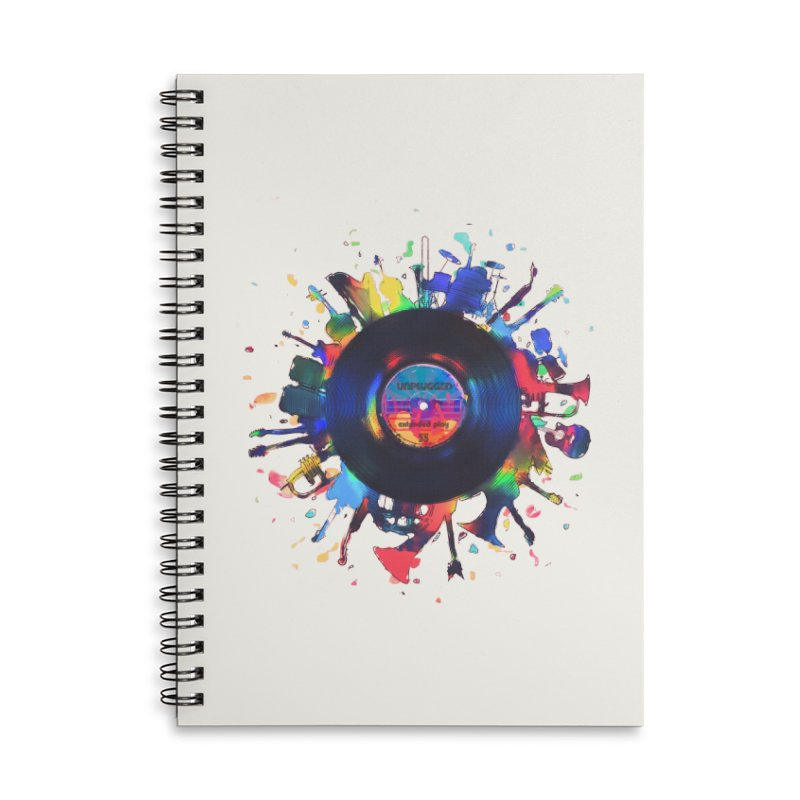unplugged Accessories Lined Spiral Notebook by muag's Artist Shop
