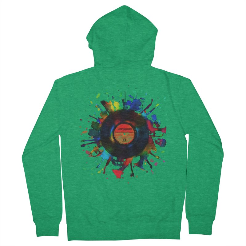 unplugged Men's French Terry Zip-Up Hoody by muag's Artist Shop