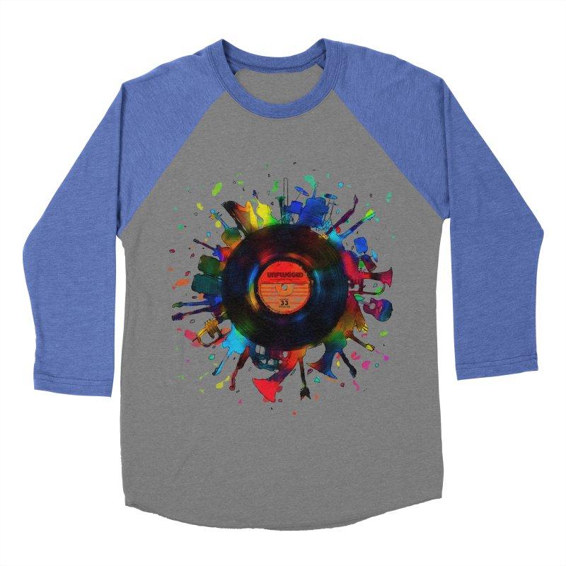 unplugged Men's Baseball Triblend T-Shirt by muag's Artist Shop