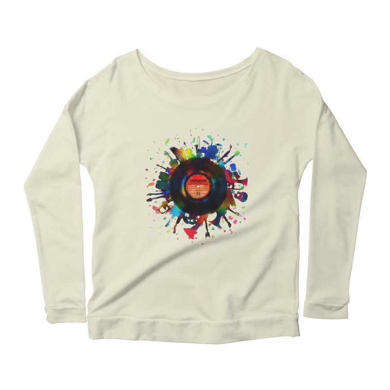 unplugged Women's Longsleeve Scoopneck  by muag's Artist Shop