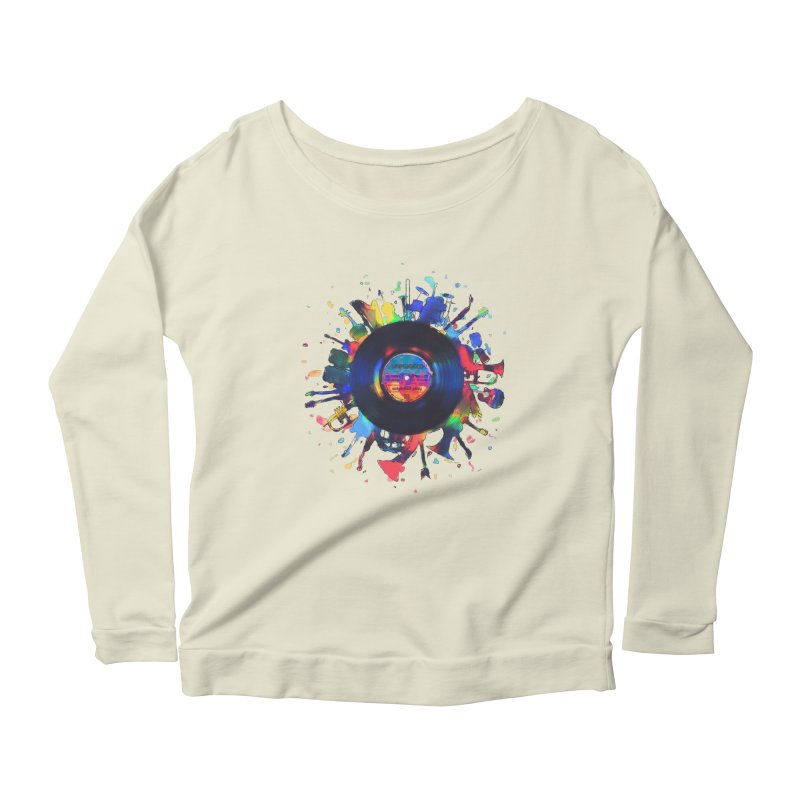 unplugged Women's Scoop Neck Longsleeve T-Shirt by muag's Artist Shop