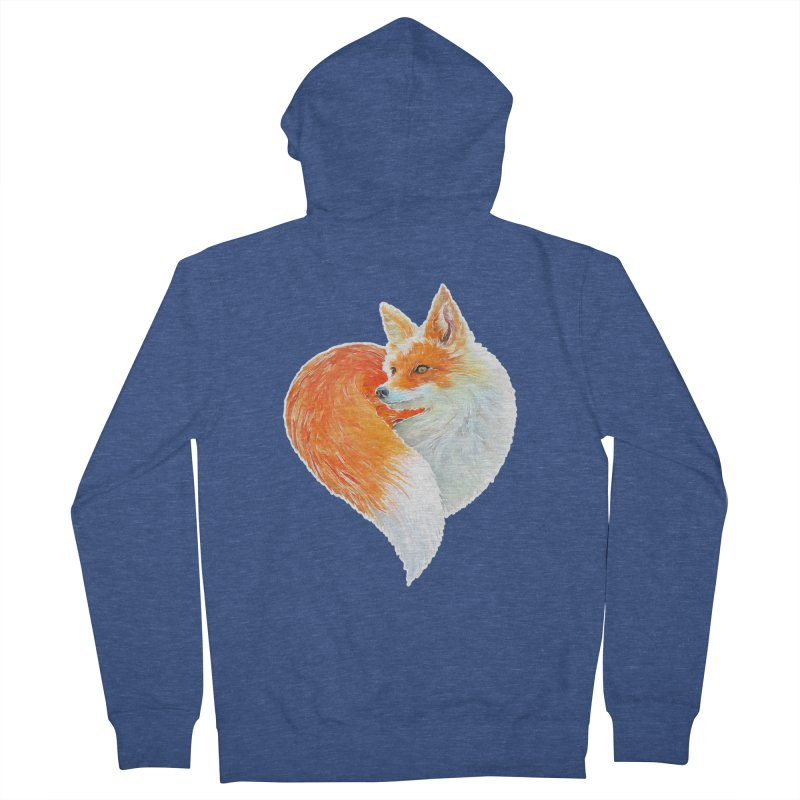 love foxes Women's French Terry Zip-Up Hoody by muag's Artist Shop