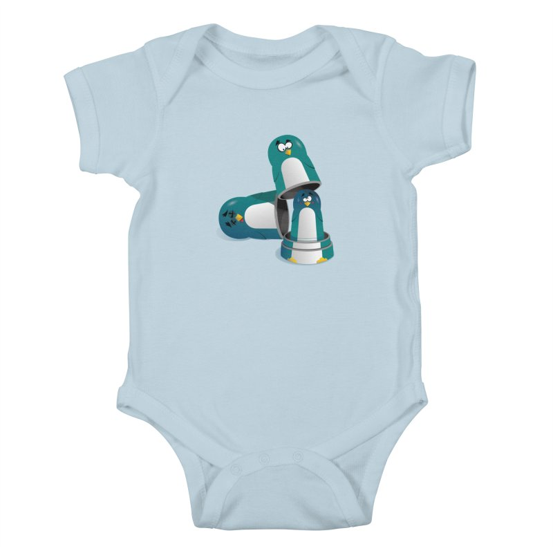 Penguin Dolls Kids Baby Bodysuit by mud's Artist Shop