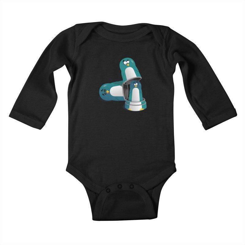 Penguin Dolls Kids Baby Longsleeve Bodysuit by mud's Artist Shop