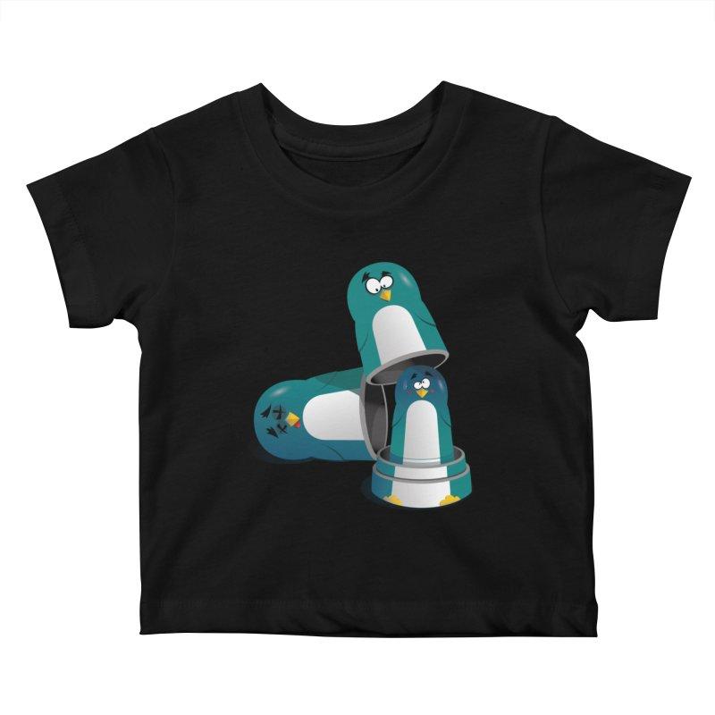 Penguin Dolls Kids Baby T-Shirt by mud's Artist Shop