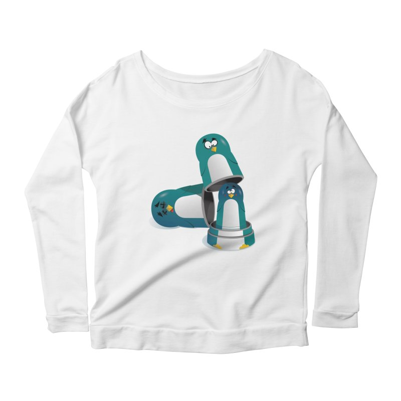 Penguin Dolls Women's Longsleeve Scoopneck  by mud's Artist Shop