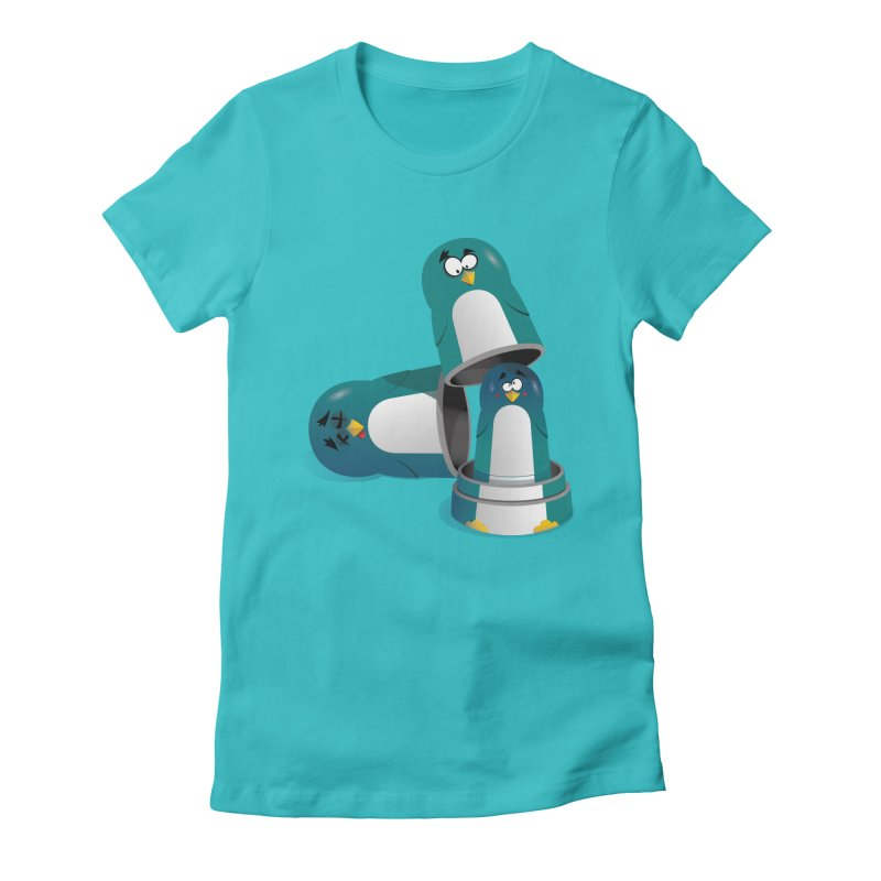 Penguin Dolls Women's Fitted T-Shirt by mud's Artist Shop