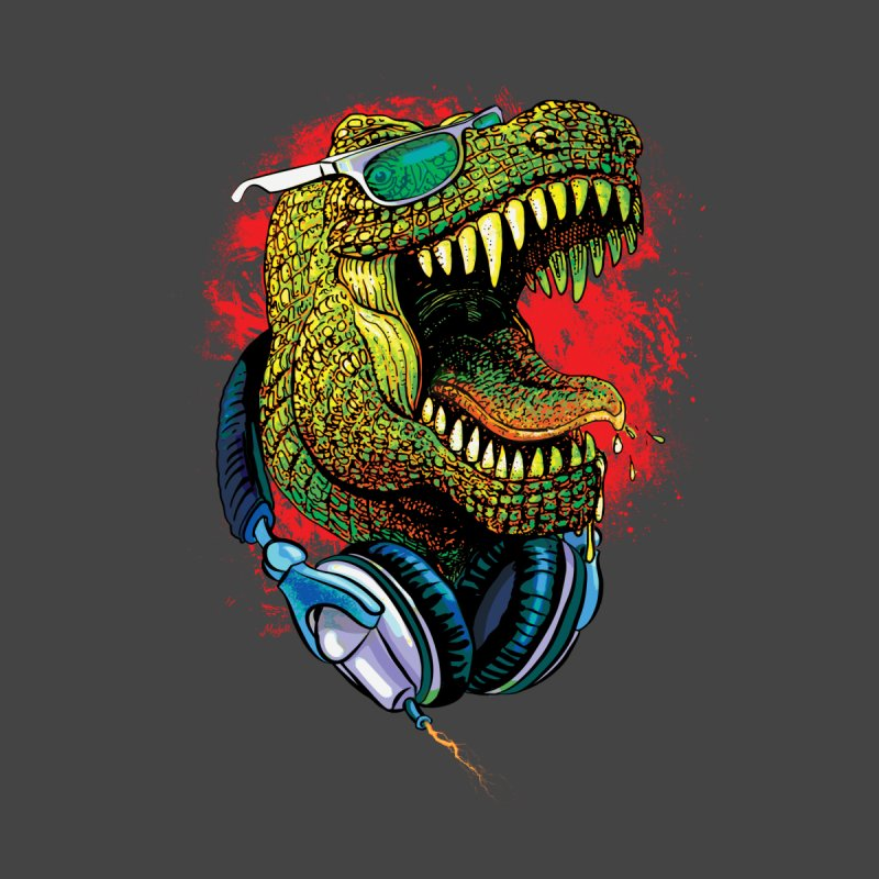 T Rex Chillin' With Shades and Headphones Women's Fitted T-Shirt by Mudge Studios