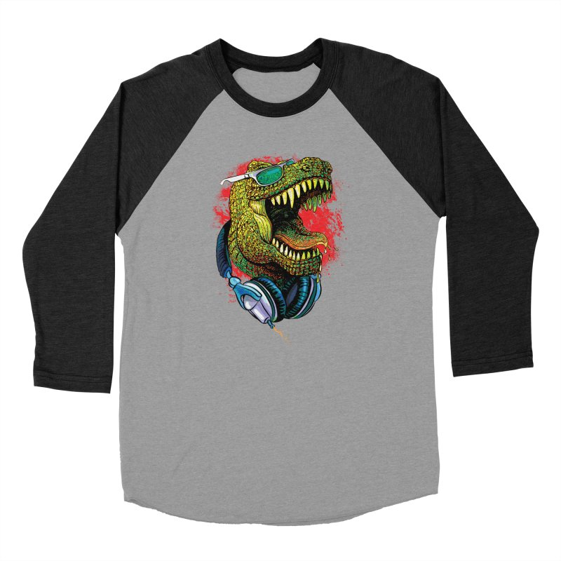 T Rex Chillin' With Shades and Headphones Women's Baseball Triblend Longsleeve T-Shirt by Mudge Studios