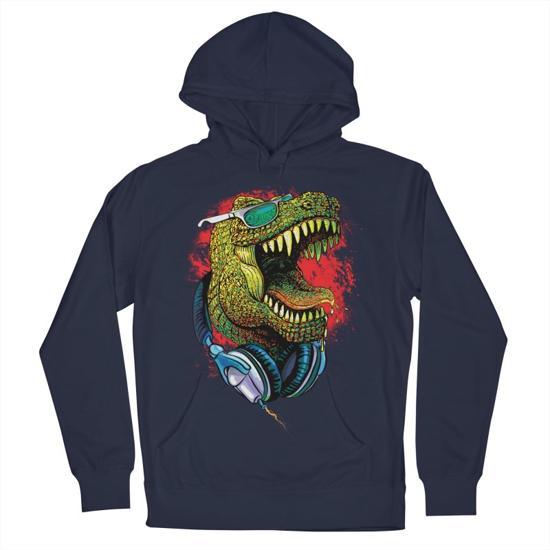 T Rex Chillin' With Shades and Headphones Women's French Terry Pullover Hoody by Mudge Studios