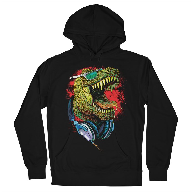 T Rex Chillin' With Shades and Headphones Men's French Terry Pullover Hoody by Mudge Studios