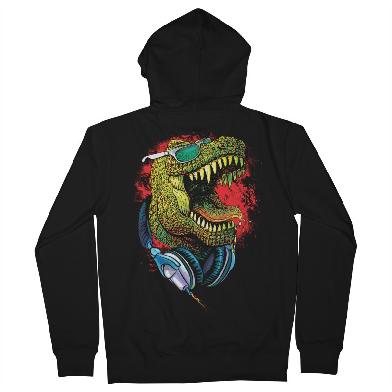 T Rex Chillin' With Shades and Headphones Men's Zip-Up Hoody by Mudge Studios