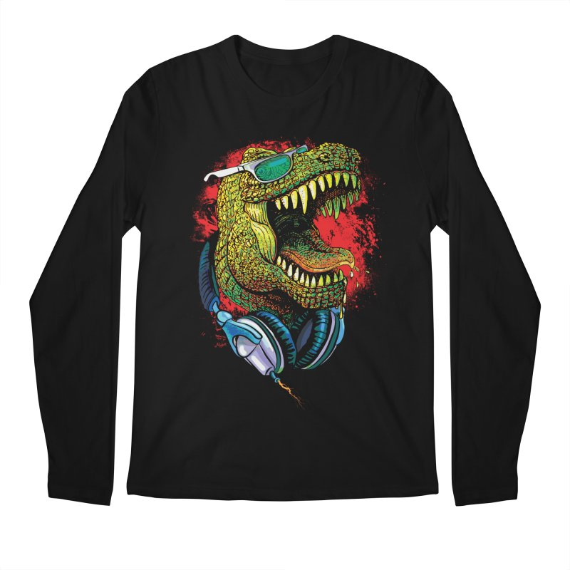 T Rex Chillin' With Shades and Headphones Men's Regular Longsleeve T-Shirt by Mudge Studios