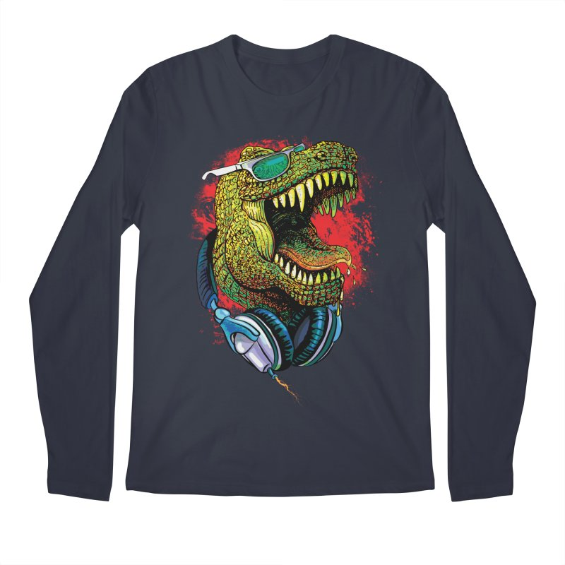 T Rex Chillin' With Shades and Headphones Men's Longsleeve T-Shirt by Mudge Studios