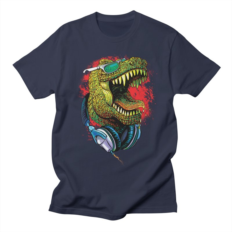T Rex Chillin' With Shades and Headphones Women's Regular Unisex T-Shirt by Mudge Studios