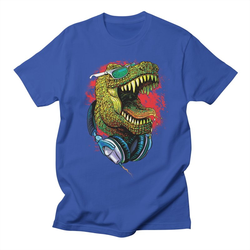 T Rex Chillin' With Shades and Headphones Men's Regular T-Shirt by Mudge Studios