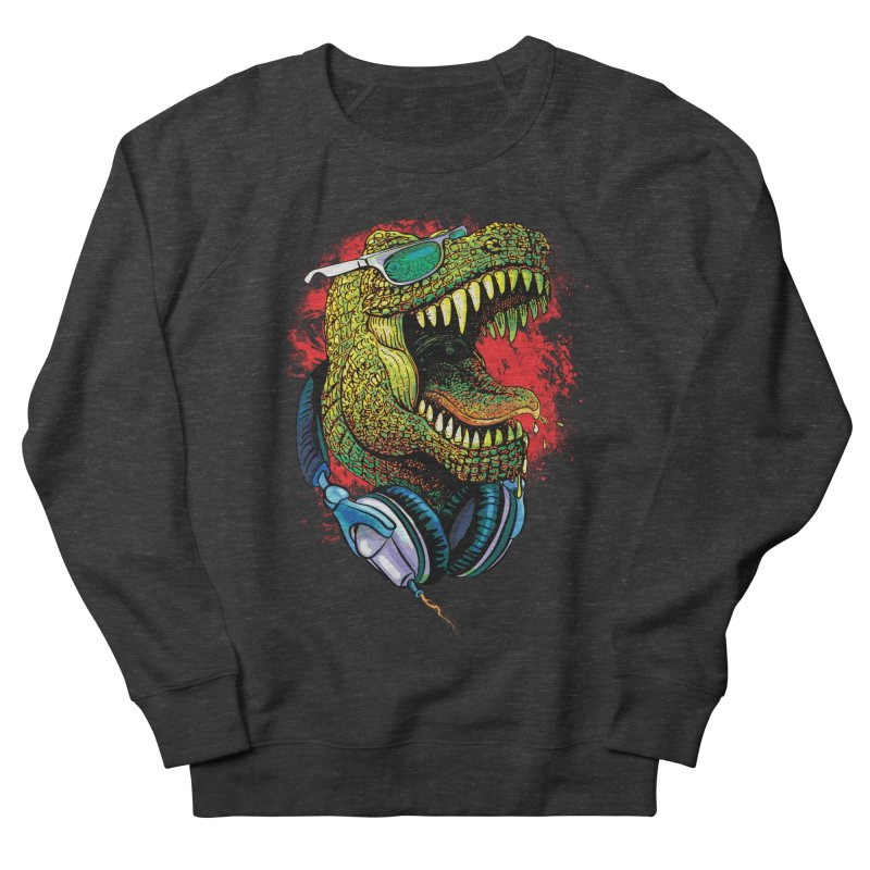 T Rex Chillin' With Shades and Headphones Men's French Terry Sweatshirt by Mudge Studios