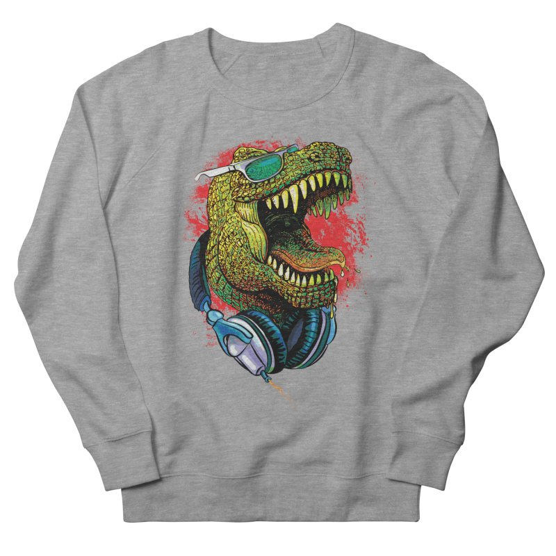 T Rex Chillin' With Shades and Headphones Men's Sweatshirt by Mudge Studios