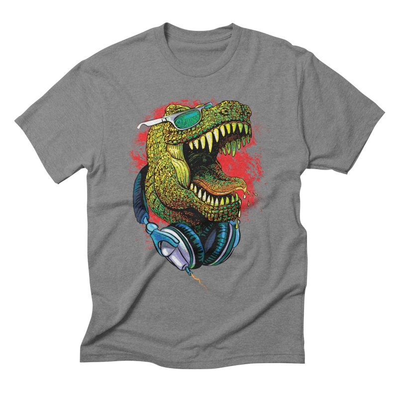 T Rex Chillin' With Shades and Headphones Men's Triblend T-Shirt by Mudge Studios