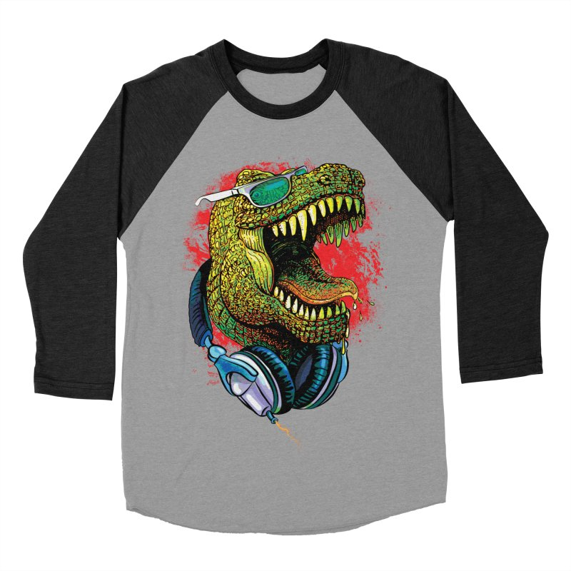 T Rex Chillin' With Shades and Headphones Men's Baseball Triblend Longsleeve T-Shirt by Mudge Studios