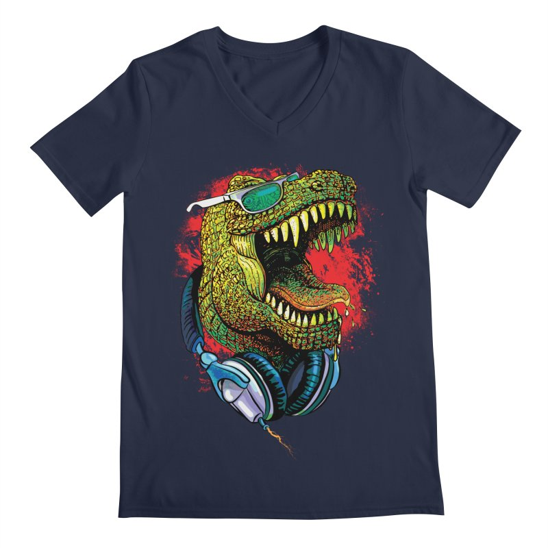 T Rex Chillin' With Shades and Headphones Men's V-Neck by Mudge Studios