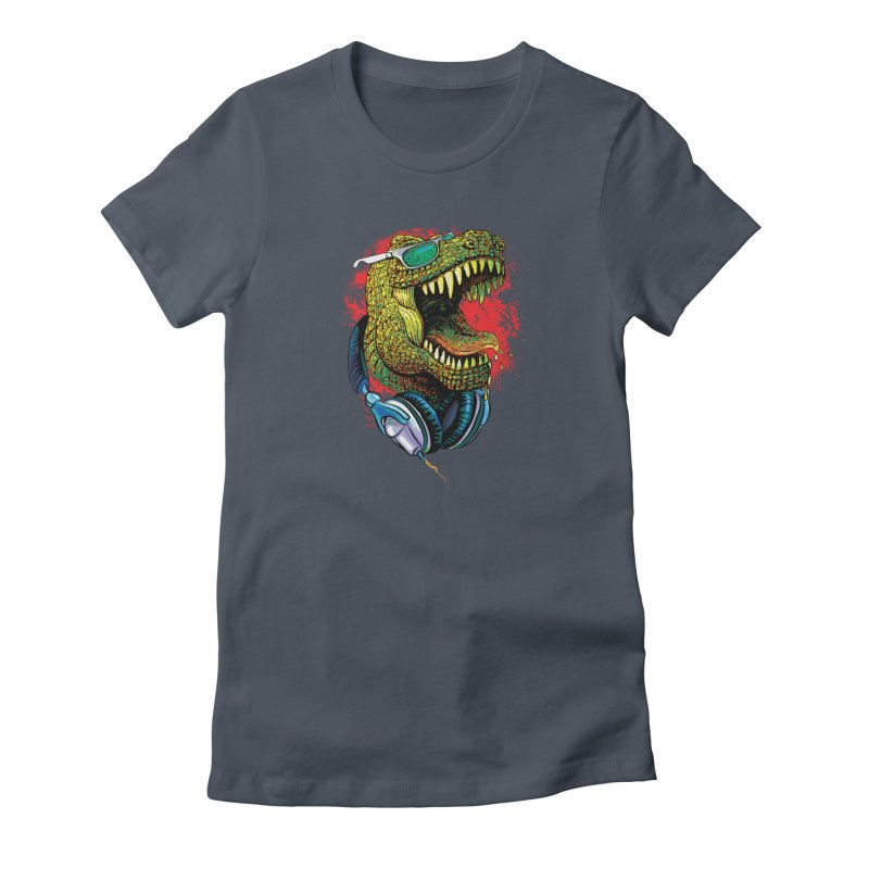 T Rex Chillin' With Shades and Headphones Women's French Terry Zip-Up Hoody by Mudge Studios