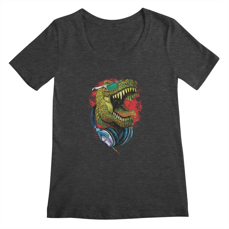 T Rex Chillin' With Shades and Headphones Women's Scoopneck by Mudge Studios