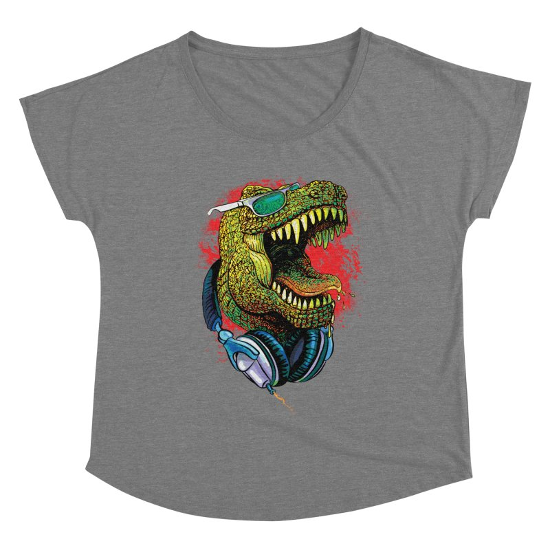 T Rex Chillin' With Shades and Headphones Women's Scoop Neck by Mudge Studios
