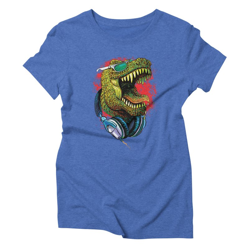 T Rex Chillin' With Shades and Headphones Women's Triblend T-Shirt by Mudge Studios