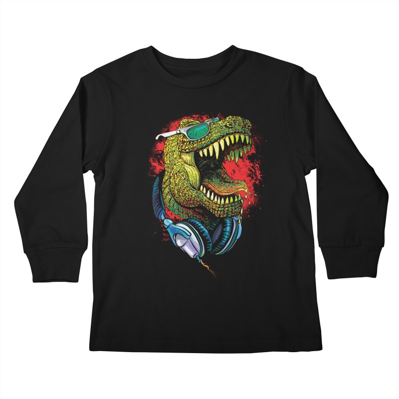 T Rex Chillin' With Shades and Headphones Kids Longsleeve T-Shirt by Mudge Studios