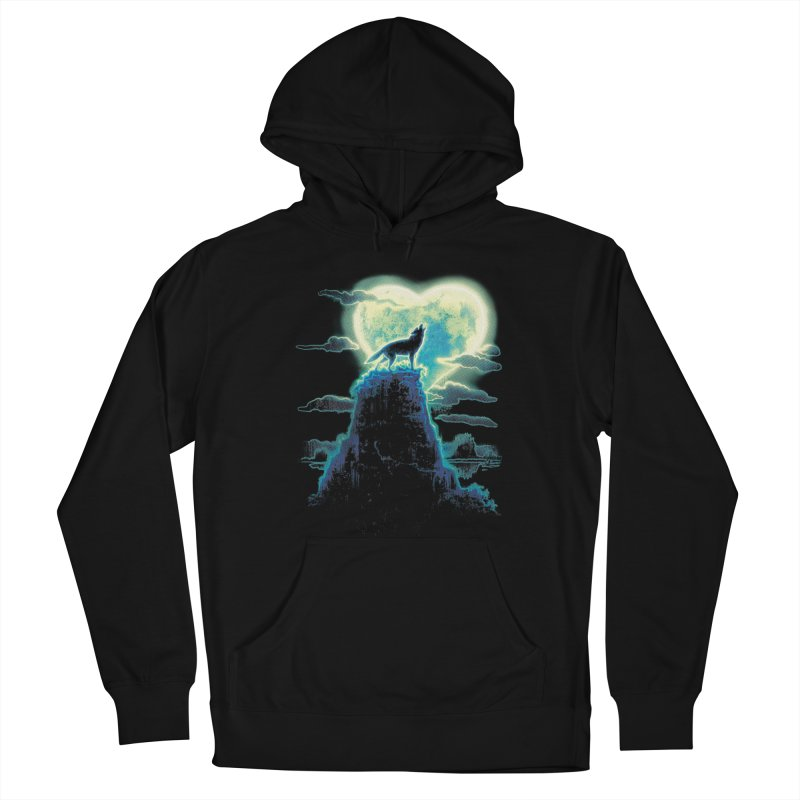 Lonely Wolf Howls at Heart Shaped Moon Women's French Terry Pullover Hoody by Mudge Studios