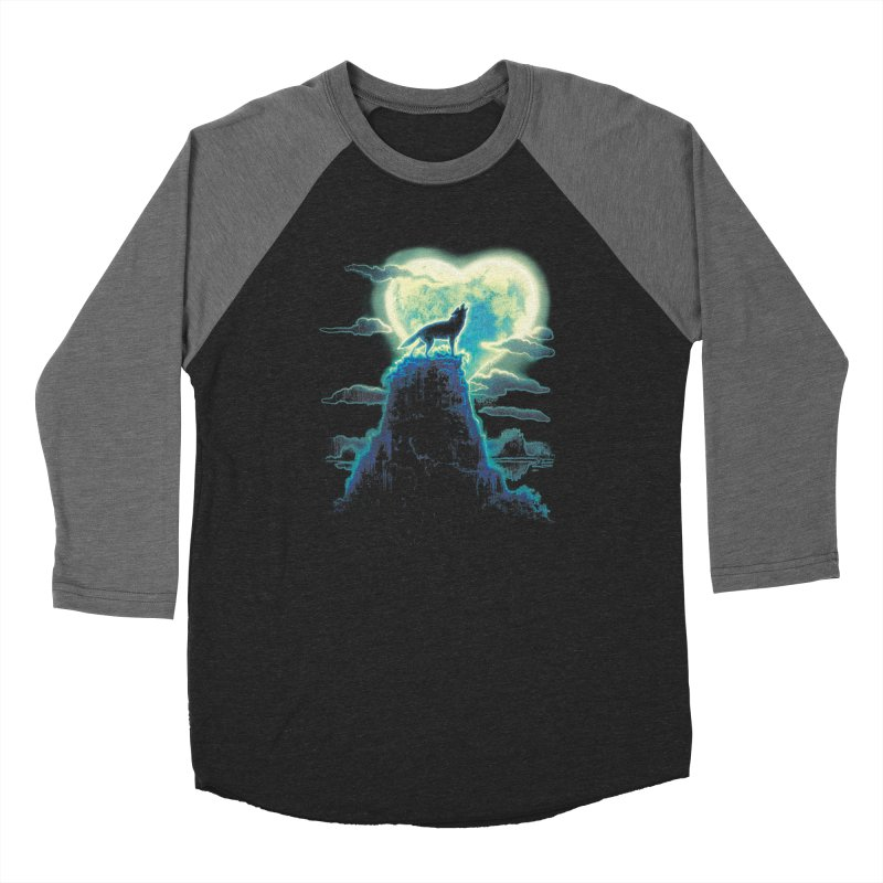 Lonely Wolf Howls at Heart Shaped Moon Women's Baseball Triblend Longsleeve T-Shirt by Mudge Studios