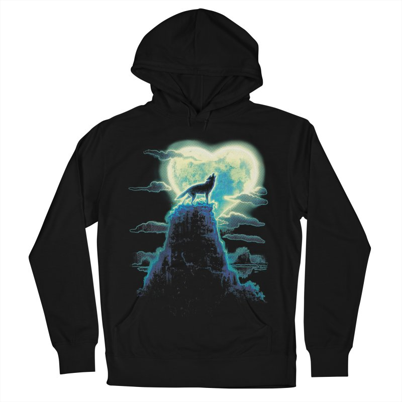 Lonely Wolf Howls at Heart Shaped Moon Women's Pullover Hoody by Mudge Studios