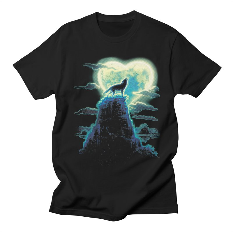Lonely Wolf Howls at Heart Shaped Moon Women's T-Shirt by Mudge Studios