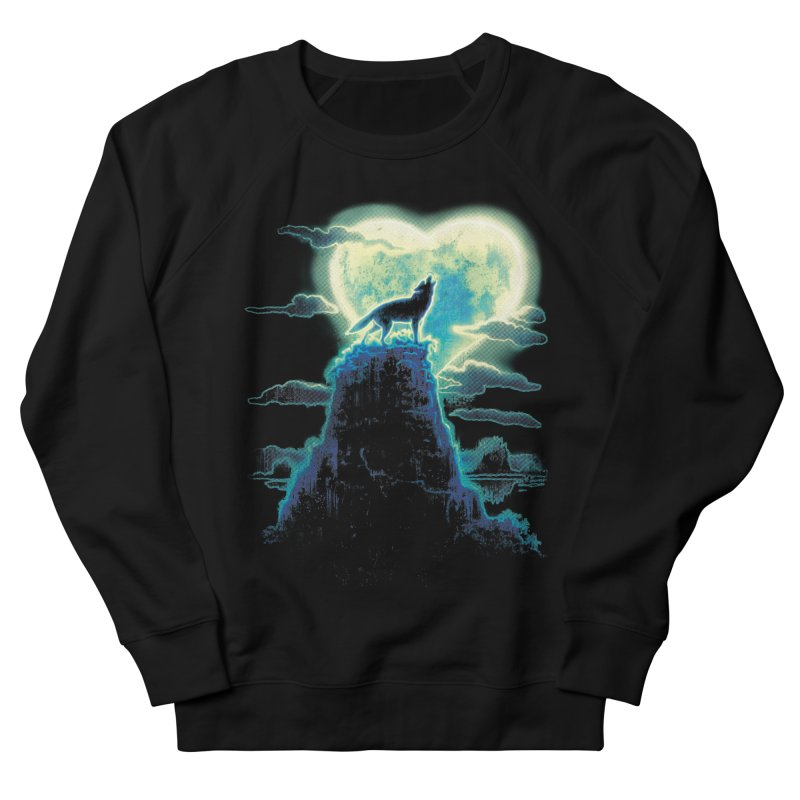 Lonely Wolf Howls at Heart Shaped Moon Women's Sweatshirt by Mudge Studios