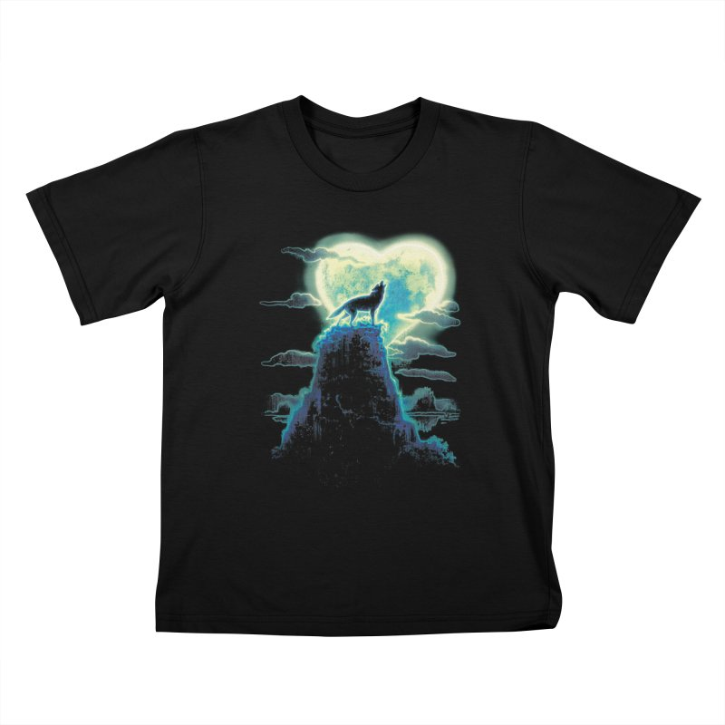 Lonely Wolf Howls at Heart Shaped Moon Kids T-Shirt by Mudge Studios
