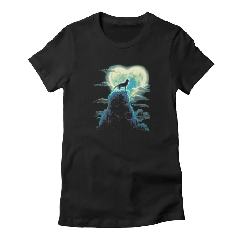 Lonely Wolf Howls at Heart Shaped Moon Women's French Terry Zip-Up Hoody by Mudge Studios