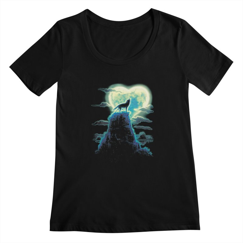 Lonely Wolf Howls at Heart Shaped Moon Women's Scoopneck by Mudge Studios