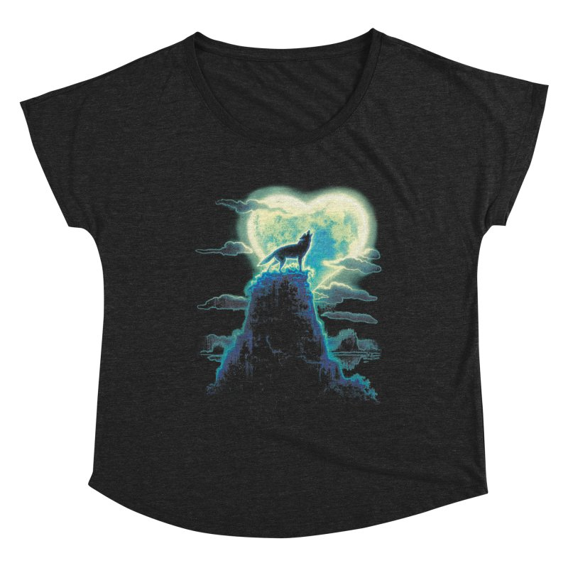 Lonely Wolf Howls at Heart Shaped Moon Women's Dolman Scoop Neck by Mudge Studios