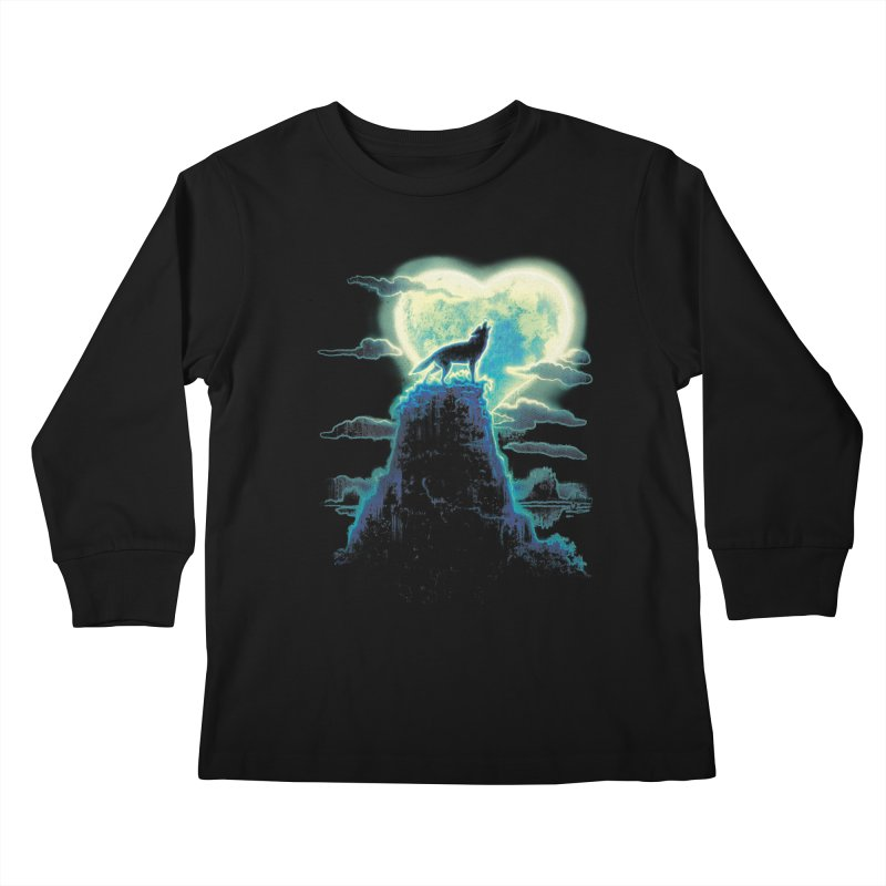 Lonely Wolf Howls at Heart Shaped Moon Kids Longsleeve T-Shirt by Mudge Studios
