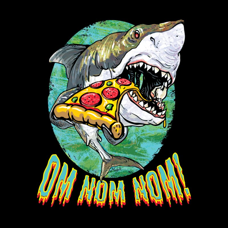 Great White Shark Loves His Pizza Men's Sweatshirt by Mudge Studios