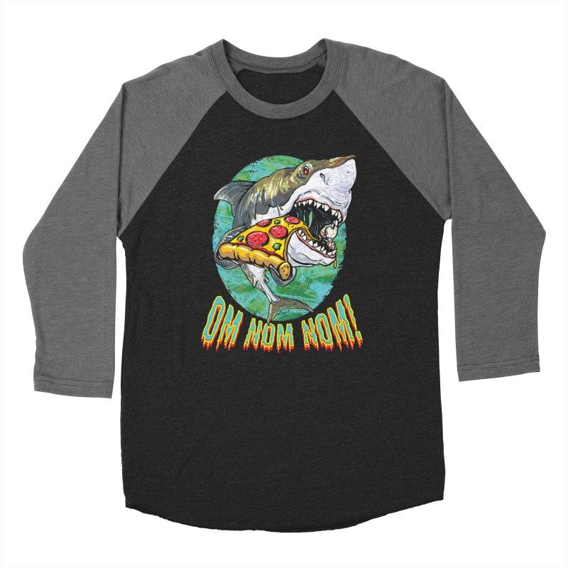 Great White Shark Loves His Pizza Men's Baseball Triblend Longsleeve T-Shirt by Mudge Studios