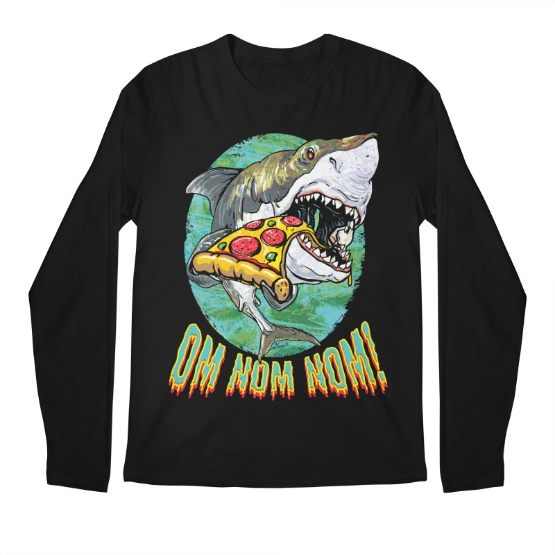 Great White Shark Loves His Pizza Men's Regular Longsleeve T-Shirt by Mudge Studios