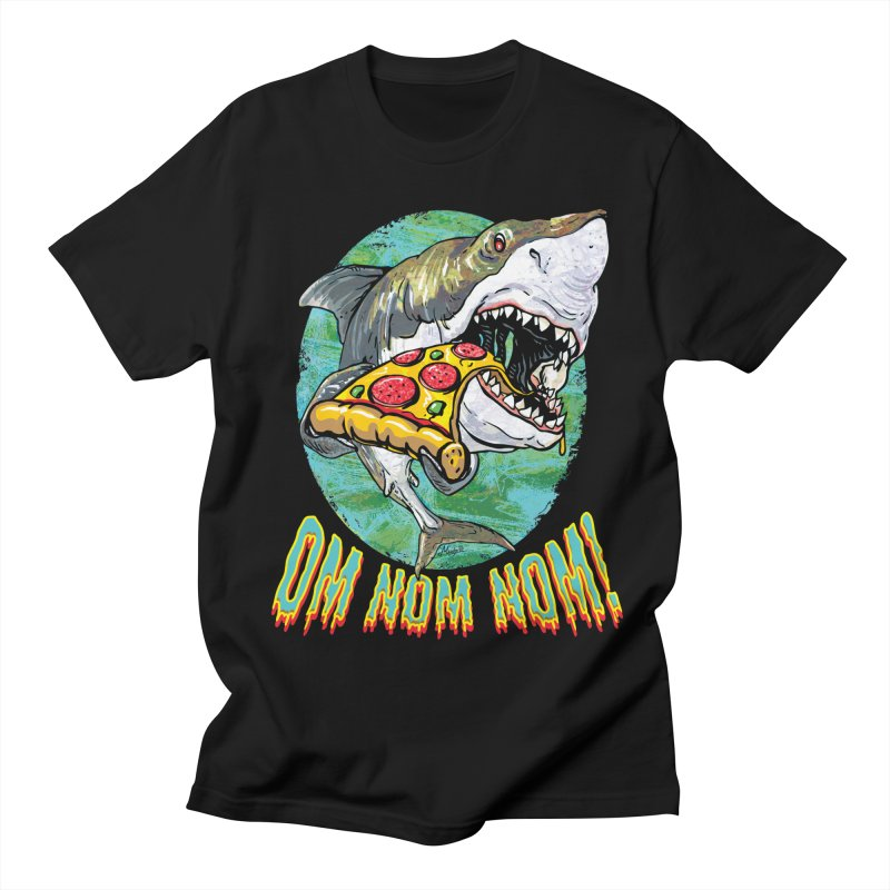 Great White Shark Loves His Pizza Men's Regular T-Shirt by Mudge Studios
